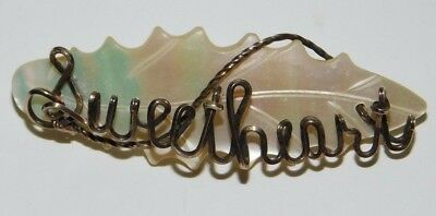 "Vintage Mother of Pearl Twisted Wire ""Sweetheart"" Brooch Pin"