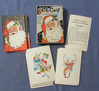 Vintage 1950S Santa Claus Christmas Playing Card Game Russell Co. Leicester Ma