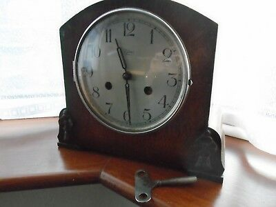 Vintage Haller Tymo Mantel Clock  With Key For Restoration