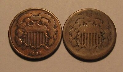 1864 & Dateless Two Cent Penny - Circulated Condition - 29SU-2