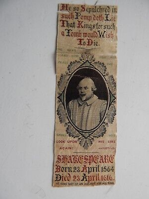 Antique embroidered Silk ? Bookmark William Shakespeare