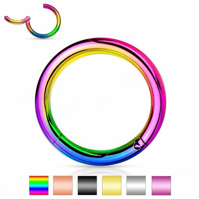 Surgical Steel Hinged Segment Ring Septum Clicker Nipple Nose Hoop Piercing