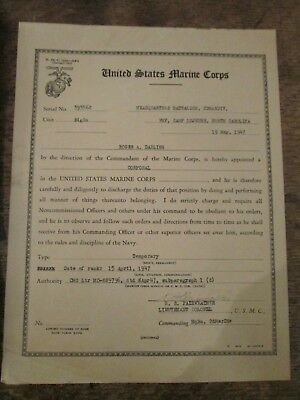 Ww Ii Marine Corps Promotion To Corporal 1947 Document Signed Fairweather