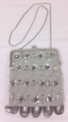 Vintage Silver & Clear Seed Bead Handbag Clutch Purse Made in Italy Metallic