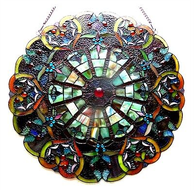 "23"" Round Multi-Color Tiffany Style Stained Glass Victorian Design Window Panel"