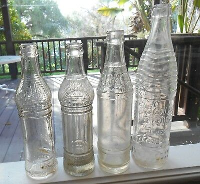 Lot of 4 Antique Deco Era CA Soda Bottles ~ San Leandro, San Jose, Petaluma, Oak