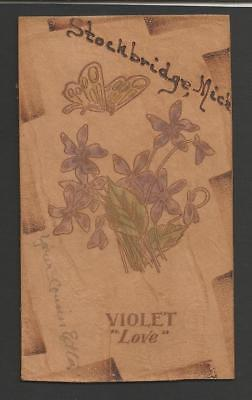 "Violet ""Love""Flowers/Butterfly Stockbridge,MI Vintage Leather Card>1907>VFposted"