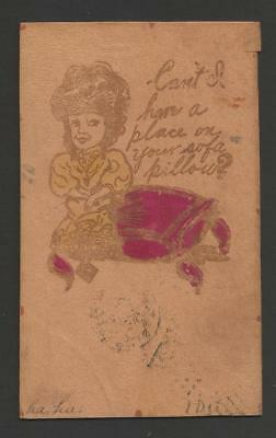 Can't I have a Place on your Sofa Pillow? Vintage Leather color Card>1907>posted