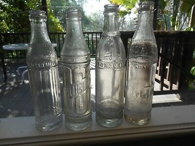 4 Antique Deco Style CA Soda Bottles~Red Bluff, Mt Shasta City, Sonora Stockton