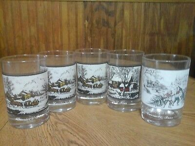 Vintage 1978 Arby's Collector's Currier & Ives Glasses (5) - Great Condition