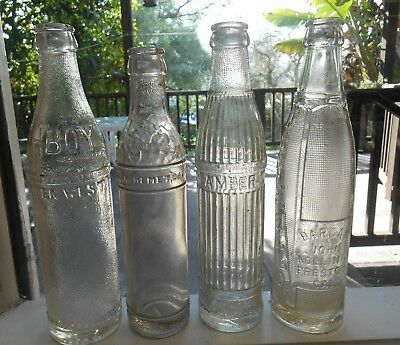 Lot of 4 Antique Deco Style CA Soda Bottles ~ San Jose, Hemet, ??, Preston