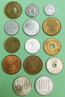 JAPAN :- 14 different early 20th. century  to present circulation coins. AP7310