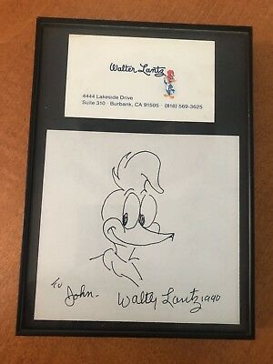 Walter Lantz SIGNED WOODY WOODPECKER DRAWING with BUSINESS CARD