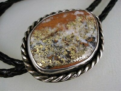 Wonderful Old Navajo Sterling Silver & Fools Gold Bolo Tie