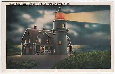 MARTHA'S VINEYARD Massachusetts PC Postcard GAY HEAD LIGHTHOUSE Light At Night