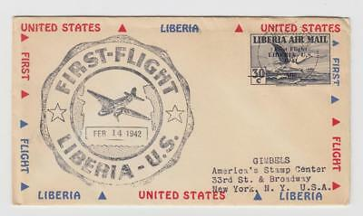 Birds, WWII Airmail:  rare Liberia Sc.C24 (388 exist) on 1942 first flight cover