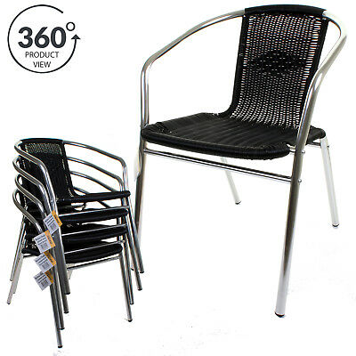 ALUMINIUM CHROME BISTRO CHAIR SEAT HEAVY DUTY DOUBLE FRAMED FURNITURE OUTDOOR