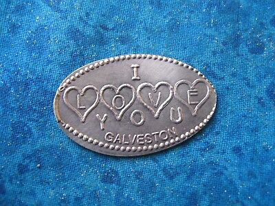 I LOVE YOU GALVESTON TEXAS COPPER Elongated Penny Pressed Smashed 11