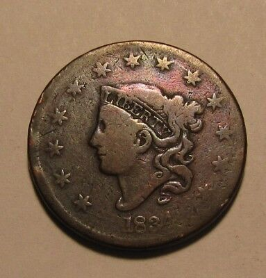1834 Coronet Head Large Cent Penny - Circulated / Rotated Reverse - 102SU-3