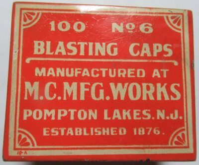 Antique Vtg Blasting Caps Tin  M. C. MFG. Works  No. 6 good Condition