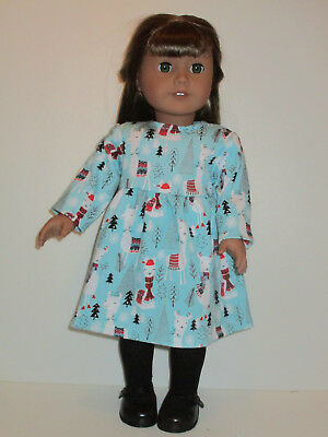 "Winter Llama Long Sleeve Knit Dress for 18"" Doll Clothes American Girl"