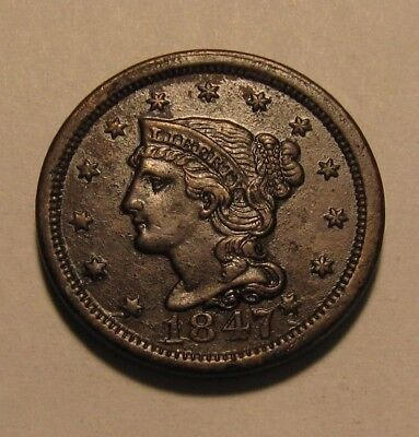 1847 Braided Hair Large Cent Penny - AU Condition / Obverse Coated - 110SU-3