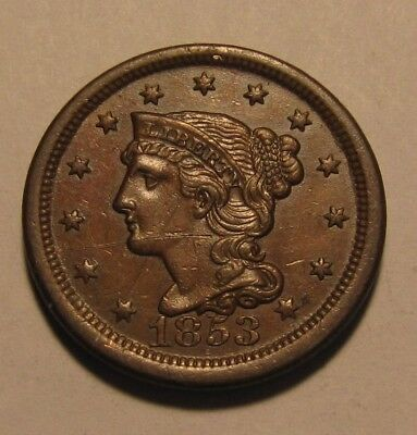 1853 Braided Hair Large Cent Penny - AU Condition / Obverse Scratched - 116SU-3