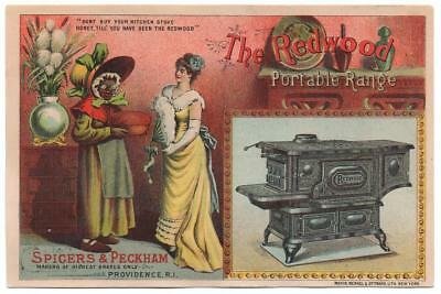 Spicer & Peckham Redwood Range Stove trade card   Stereotype Black & Rich Women