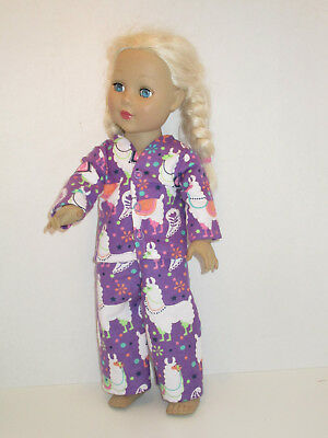 "Llama/Purple Pajamas for 18"" Doll Clothes American Girl"