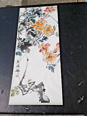 "Signed Antique Vintage Chinese Flowers Tree Watercolor Painting 12 1/2"" X 30"""