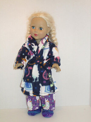 "Llama/Purple Pajama/Fleece Robe/Slipper Set 18"" Doll Clothes American Girl"