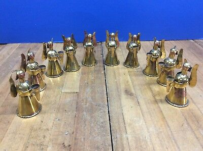 Lot Of 10 Vintage Copper Brass Angel Candle Holder Christmas Ornaments Wings