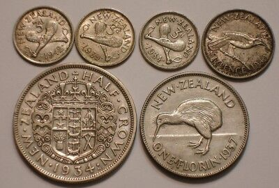 6 piece Mix SILVER Coins of New Zealand 1+ oz very Nice MIX