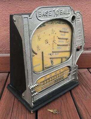 Antique 1930s Coin Op Penny Machine Atlas Indicator Baseball Trade Stimulator