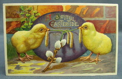 Antique Postcard 1911 Winsch Easter Joyful Two Chicks Purple Egg Pussy Willows