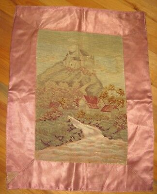Unusual Antique Wool Needlepoint Tapestry of Castle, Mountain, Houses and River