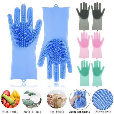1 Pair Magic Silicone Dish Washing Gloves Scrubber Cleaning Brush Heat Resistant