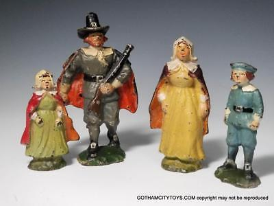 Hubley Cast Iron COLONIAL PILGRIM FAMILY Figural PAPERWEIGHTS~All ORIGINAL
