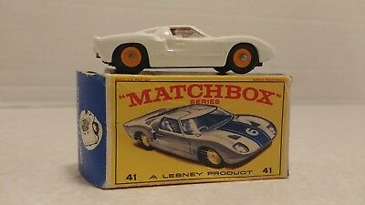 Vintage 1960's Matchbox Lesney #41C Ford GT With Box MIB Super Clean Nice