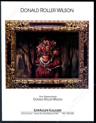 1992 Donald Roller Wilson chimpanzee art SF gallery vintage print ad