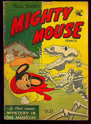 Mighty Mouse Comics #52 Dinosaur Cover Golden Age St. John Comic 1954 GD+