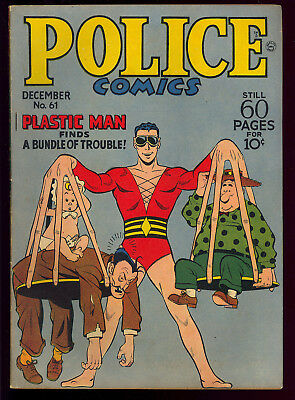 Police Comics #61 Very Nice Golden Age Plastic Man Spirit Quality 1946 VG-FN