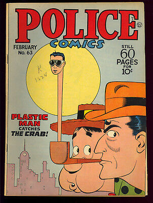 Police Comics #63 Very Nice Golden Age Plastic Man Spirit Quality 1947 FN-