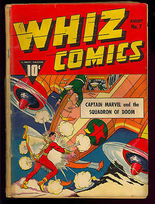 Whiz Comics #7 Unrestored Early Captain Marvel Golden Age Fawcett 1940 FR-GD