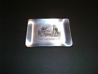 """Vintage 5"""" x 4"""" Hornell Waste Material Co. Metal Pictoria Advertisingl Ashtray"""