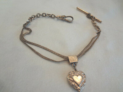 Fabulous Antique Victorian Gold Filled Puffy Heart Fob On Slide Watch Chain