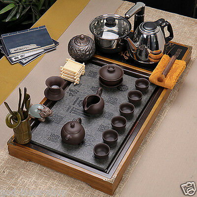 real zisha tea set solid wood & stone tea tray with induction cooker pan kettle