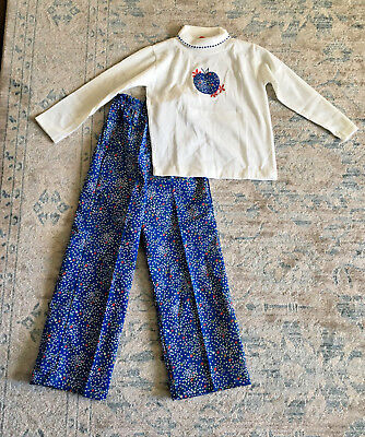 Vintage Healthtex Girls Calico Floral Apple LS Shirt & Pants Outfit 6X NEW