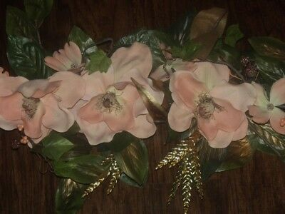 Vtg Homco Home Interiors Brass Gold Metal Wheat Pink Dogwood Flower Wall Swag 33