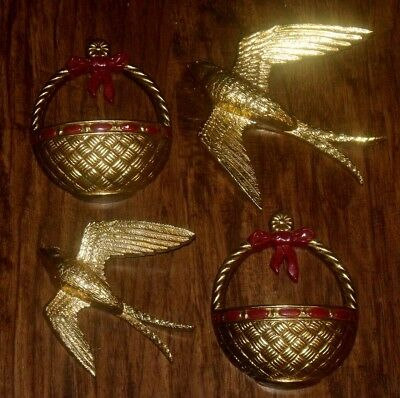 Vtg Homco Burwood Gold Birds In Flight Basket Wall Hanging Pocket Decor Set Lot